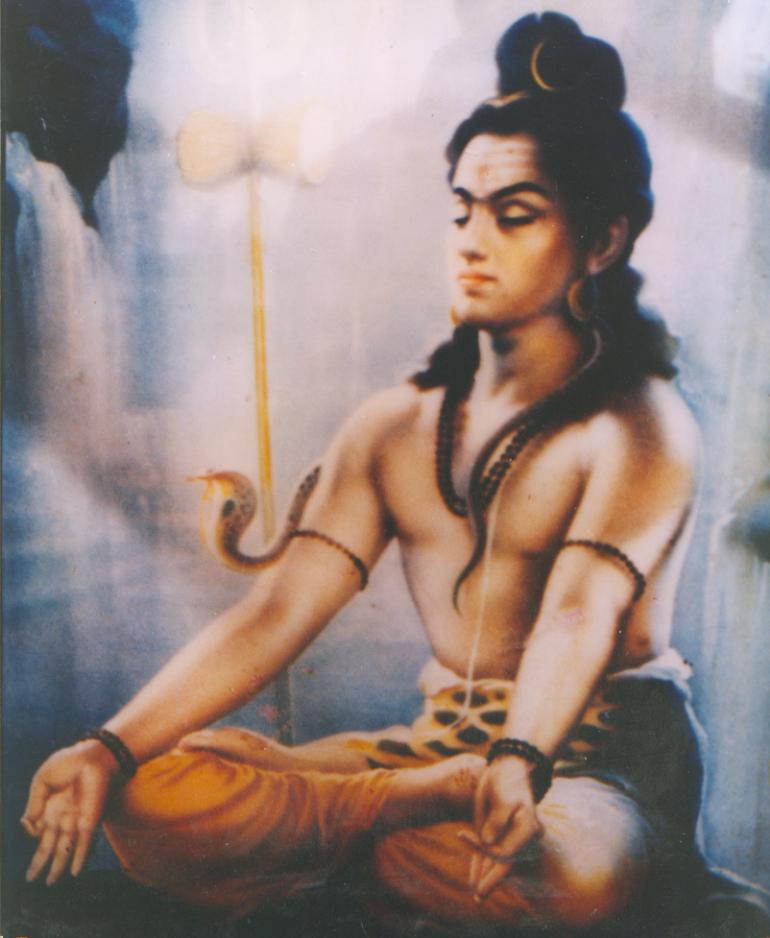 rare print of Shiva in meditation