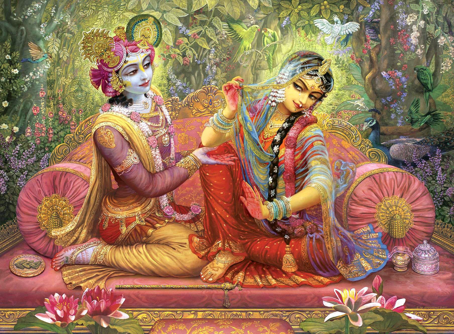 High quality print of sri sri radha and krishna together sitting on