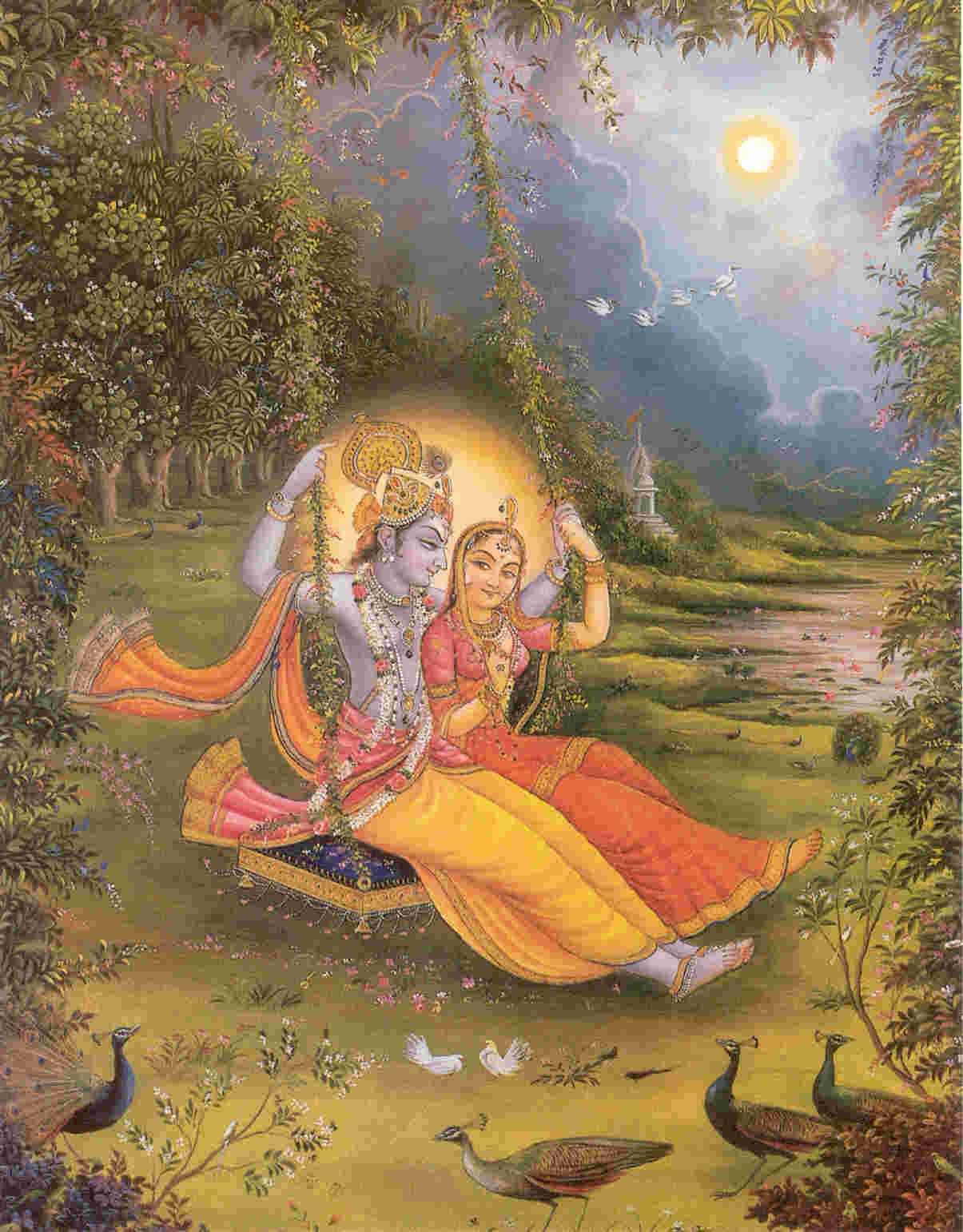 Sri Sri Radha and Krishna on a swing