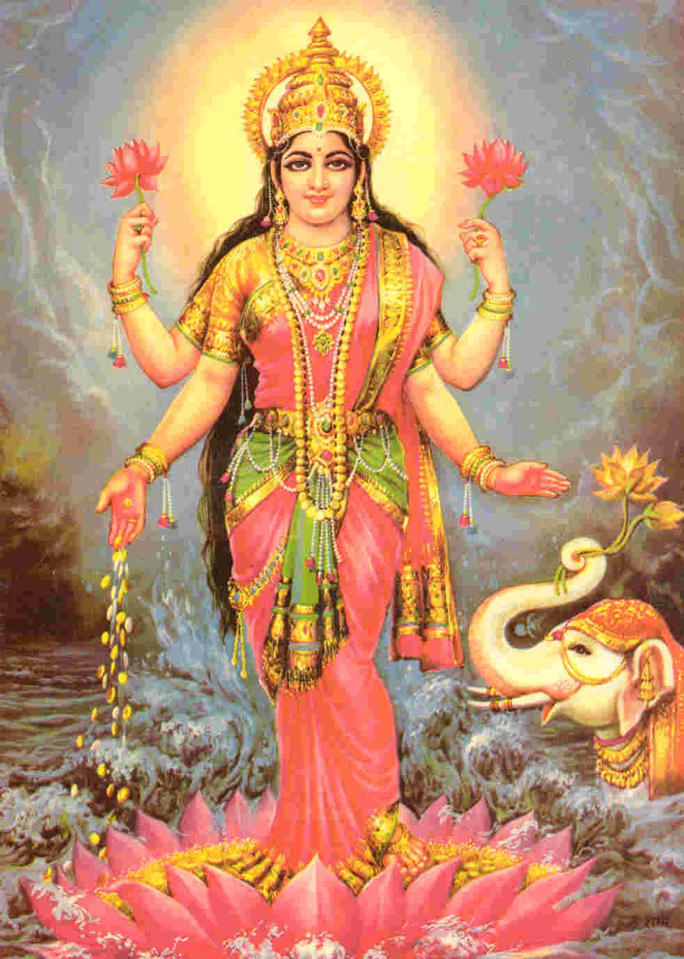 Lakshmi print 2 - Images of hindu gods and goddesses ...
